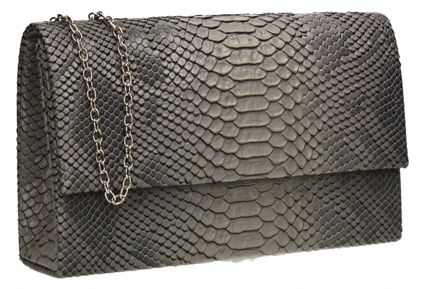 SwankySwans Verna Clutch Bag Grey Casual Clutch Bag Flapover Grey Party Faux Leather