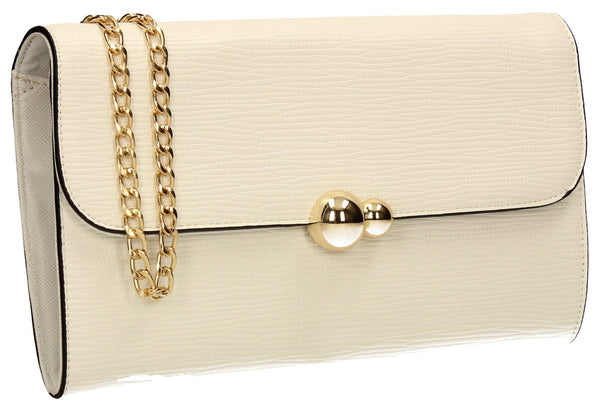 SWANKYSWANS Violet Clutch Bag White Cute Cheap Clutch Bag For Weddings School and Work