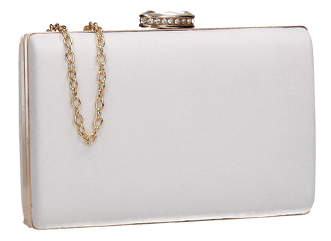 SwankySwans Surrey Suede Clutch Bag White Box Shape Clutch Bag Faux Suede Minaudière White