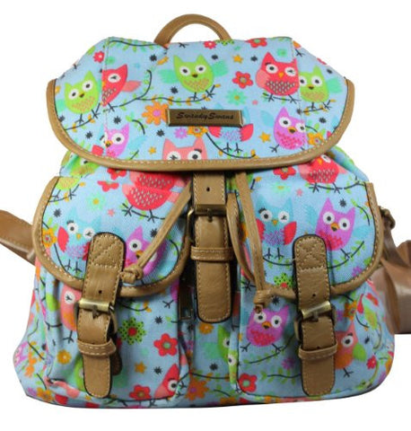 Swanky SwansWinking Owl Backpack Blue BK383Beautiful cheap school backpack bag