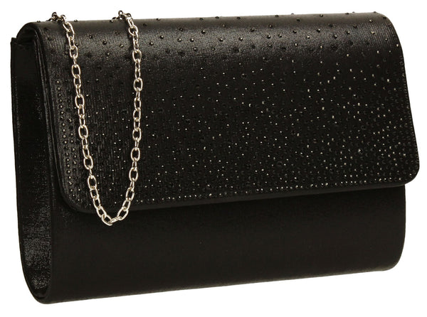 SWANKYSWANS Natalie Diamante Clutch Bag Black Cute Cheap Clutch Bag For Weddings School and Work