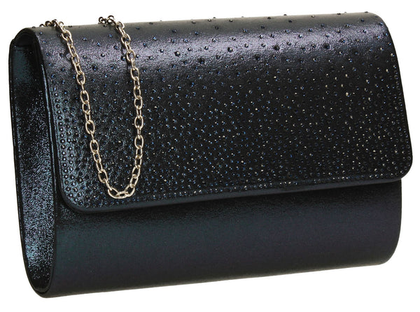 SWANKYSWANS Natalie Diamante Clutch Bag Navy Cute Cheap Clutch Bag For Weddings School and Work