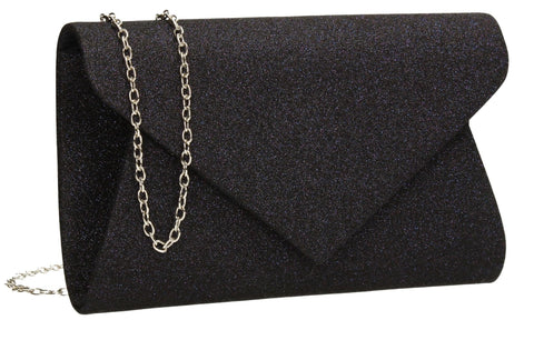 SWANKYSWANS Ava Glitter Clutch Bag Navy Cute Cheap Clutch Bag For Weddings School and Work