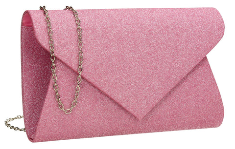 SWANKYSWANS Ava Glitter Clutch Bag Pink Cute Cheap Clutch Bag For Weddings School and Work