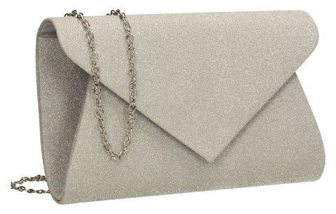 SWANKYSWANS Ava Glitter Clutch Bag Silver Cute Cheap Clutch Bag For Weddings School and Work