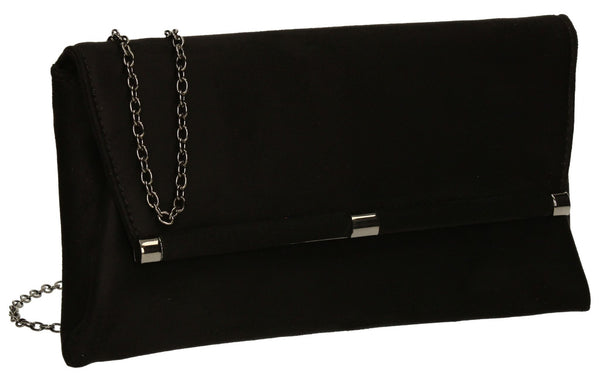 SwankySwans Pamela Clutch Bag Black Casual Clutch Bag Faux Suede Flapover Party