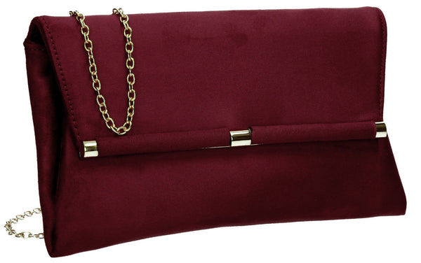 SwankySwans Pamela Clutch Bag Burgundy Casual Clutch Bag Faux Suede Flapover Party Red