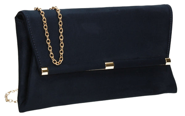 SWANKYSWANS Pamela Clutch Bag Navy Cute Cheap Clutch Bag For Weddings School and Work