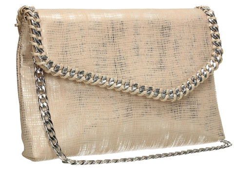 SwankySwans Stella Clutch Bag Champagne Clutch Bag Flapover Pouch Slim Faux Leather Wedding