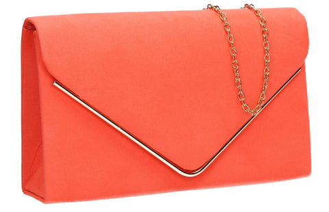 SwankySwans Maddison Clutch Bag Coral Clutch Bag Envelope Faux Suede