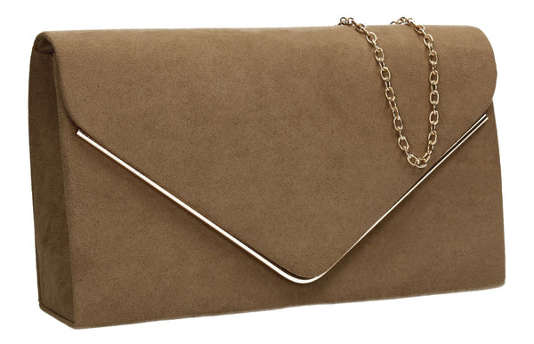 SWANKYSWANS Maddison Clutch Bag Khaki Cute Cheap Clutch Bag For Weddings School and Work