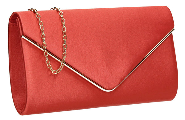SWANKYSWANS Olivia Clutch Bag Coral Red Cute Cheap Clutch Bag For Weddings School and Work