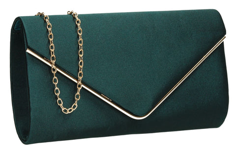 SwankySwans Olivia Clutch Bag Green Clutch Bag Envelope Evening Green Satin