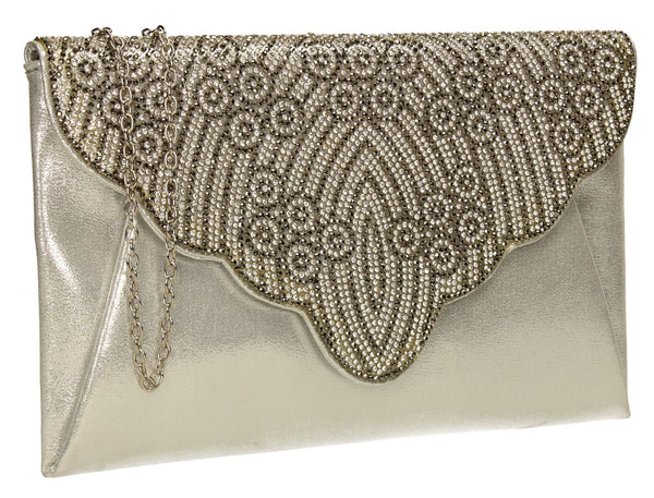 SWANKYSWANS Selina Clutch Bag Silver Cute Cheap Clutch Bag For Weddings School and Work