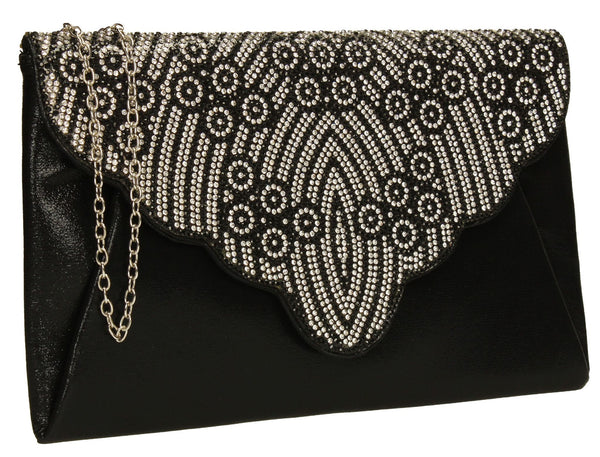SWANKYSWANS Selina Clutch Bag Black Cute Cheap Clutch Bag For Weddings School and Work