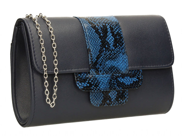 SwankySwans Zafira Clutch Bag Navy Blue Blue Box shape Clutch Bag Flapover Minaudière Party Faux Leather