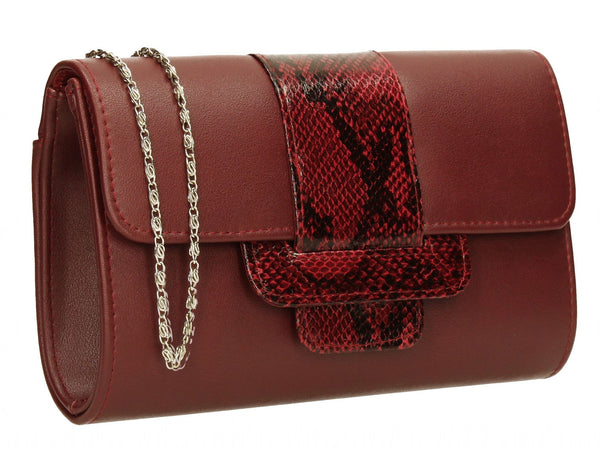SWANKYSWANS Zafira Clutch Bag Burgundy Cute Cheap Clutch Bag For Weddings School and Work