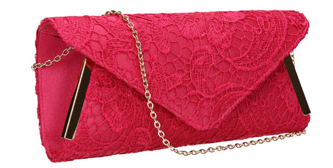 SwankySwans Zara Clutch Bag Fuschia Casual Clutch Bag Envelope Evening Lace Party  Satin