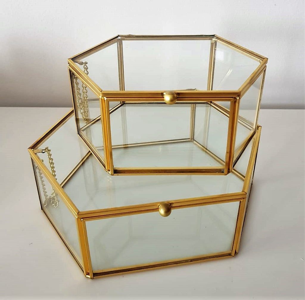 Gold geometric terrarium/ring boxes (Long Hexagon Box)-Geometric Terrarium-1stAvenue