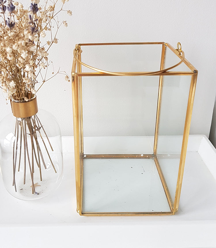 Gold geometric terrarium/ring boxes (Rectangle Lantern)-Geometric Terrarium-1stAvenue