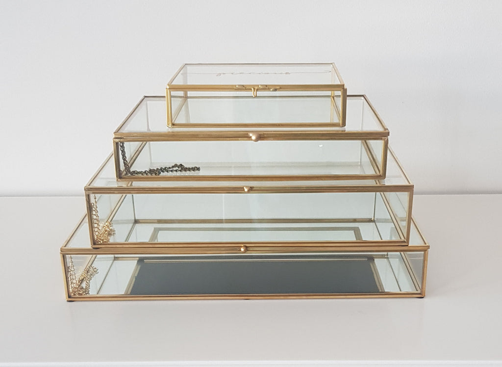 Gold geometric terrarium/ring boxes (Flat rectangle box)-Geometric Terrarium-1stAvenue