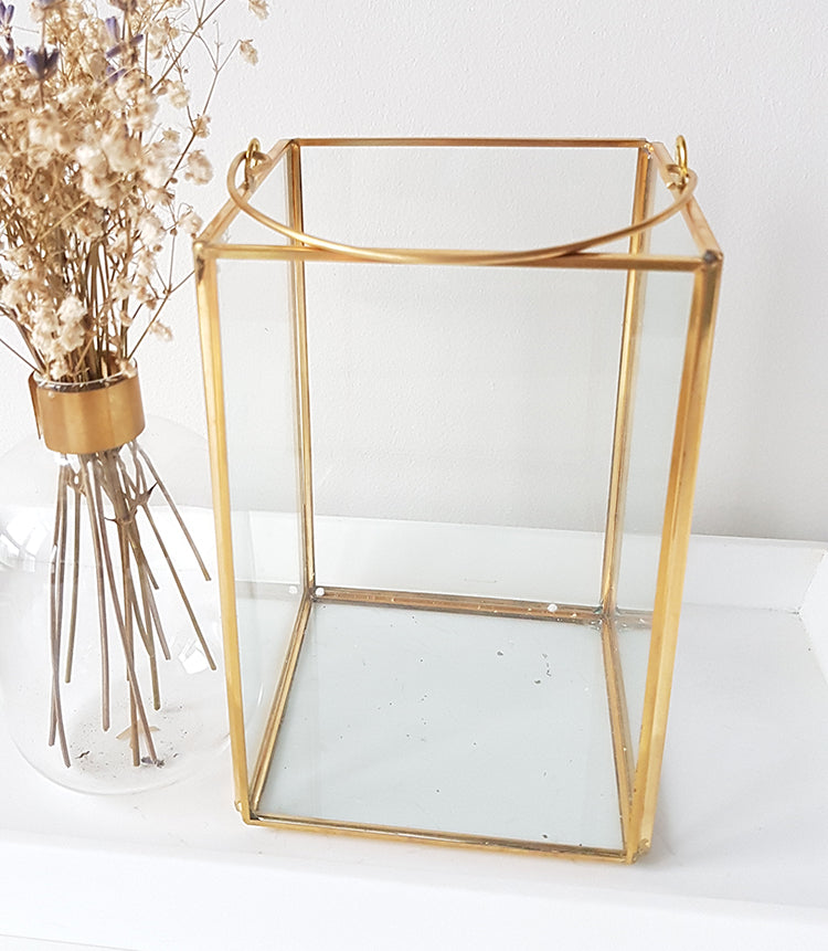 Gold geometric terrarium/ring boxes (Rectangle Lantern) - 1stAvenue