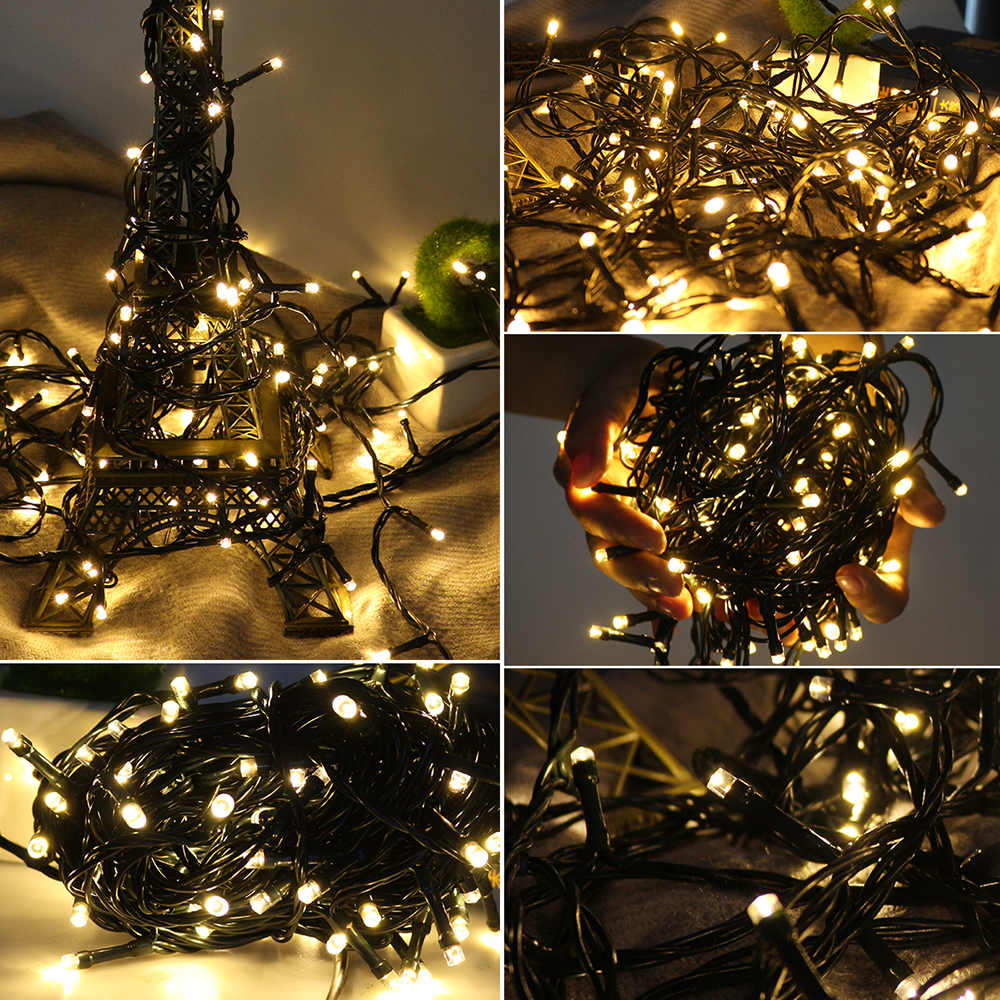 10M dark green Wire Warm White EU Plug Fairy Lights LED String Lights Waterproof Wire Outdoor Indoor LED Christmas Decoration-Fairy Lights-1stAvenue