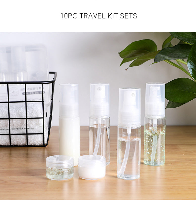 10 piece travel kit sets cosmetics bottled spray lotion small empty bottle portable storage set-Travel Organizer-1stAvenue