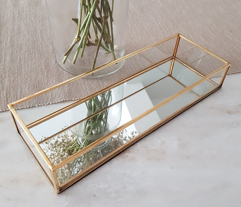 Gold geometric terrarium/ring boxes (Long Slim Rectangle Tray)-Geometric Terrarium-1stAvenue