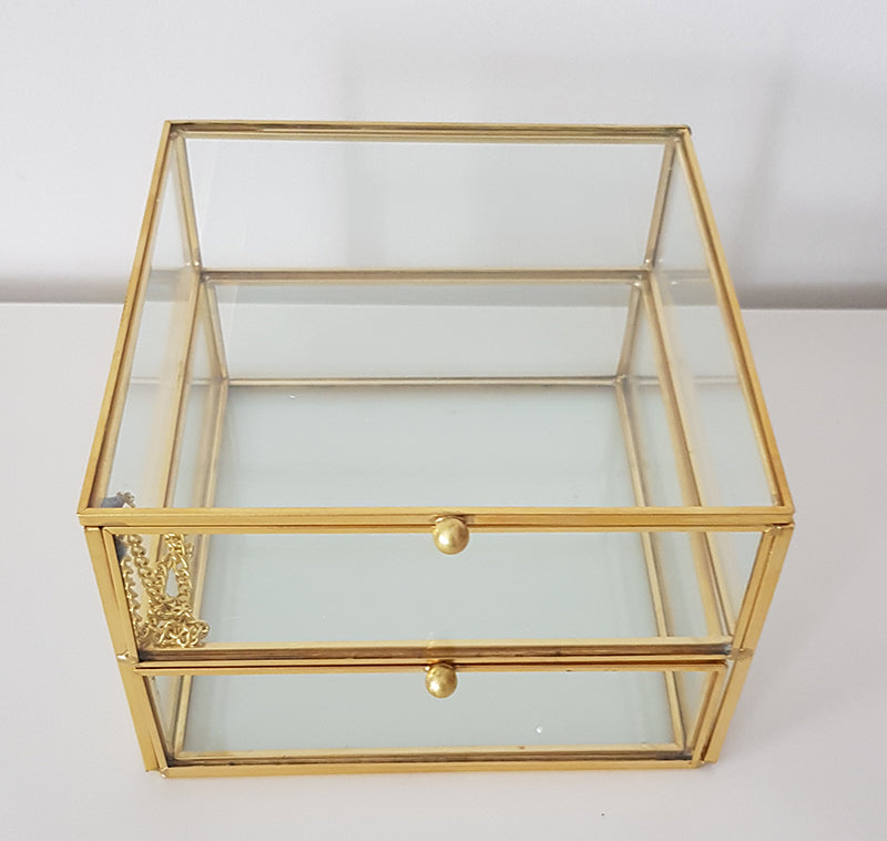 Gold geometric terrarium/ring boxes (Square Drawer)-Geometric Terrarium-1stAvenue