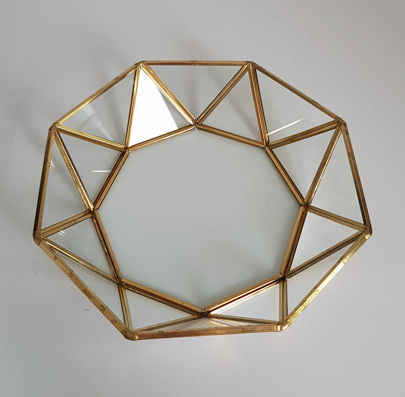 Gold geometric terrarium/ring boxes (Faceted Tray)-Geometric Terrarium-1stAvenue