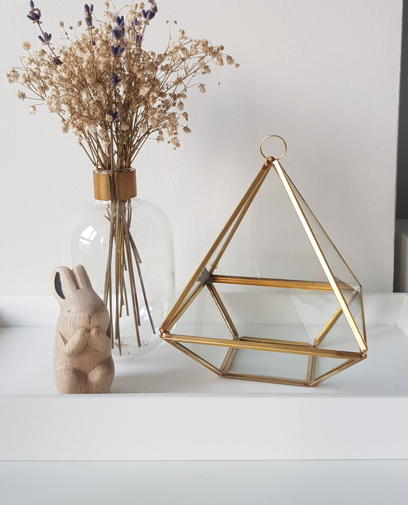 Gold geometric terrarium/ring boxes (Small Diamond box)-Geometric Terrarium-1stAvenue