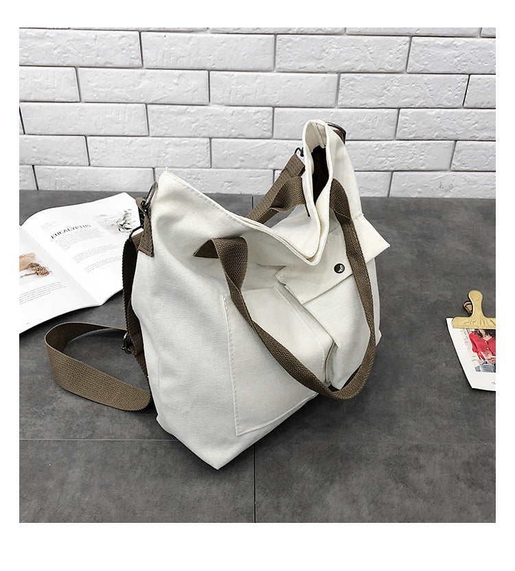 Fashion Casual Women Handbags White Canvas Shoulder Bags For Teenager Girls Female Crossbody Cloth-Travel Organizer-1stAvenue