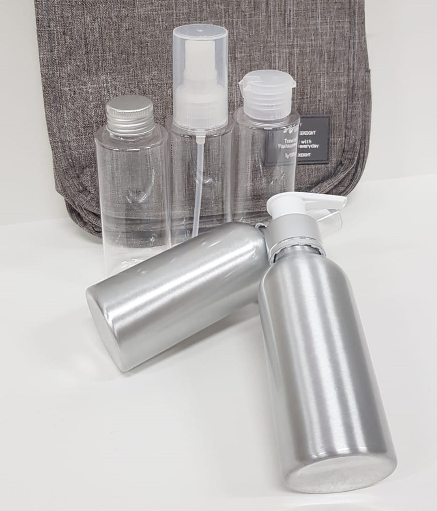 5pc Travel Plastic and Aluminum Bottle 100ml Muji Design-Travel Organizer-1stAvenue