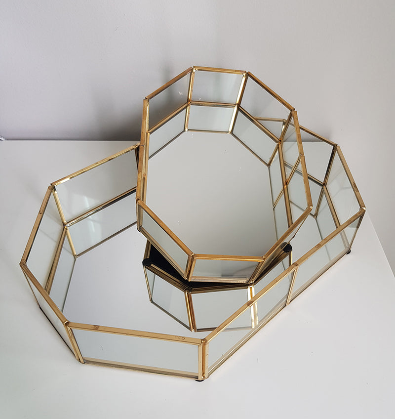 Gold geometric terrarium/ring boxes (Long Hexagon Tray) - 1stavenue