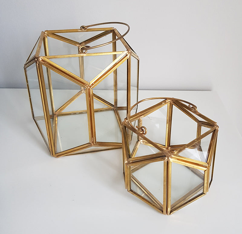 Gold geometric terrarium/ring boxes (Lantern)-Geometric Terrarium-1stAvenue