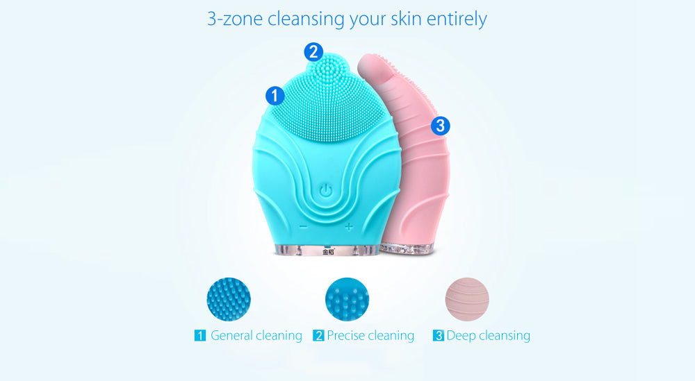 KINGDOM Handy Mini Facial Cleansing Brush Sonic System Electric Rechargeable Waterproof Facial Brush Massager-Facial Tool / Beauty Tool-1stAvenue