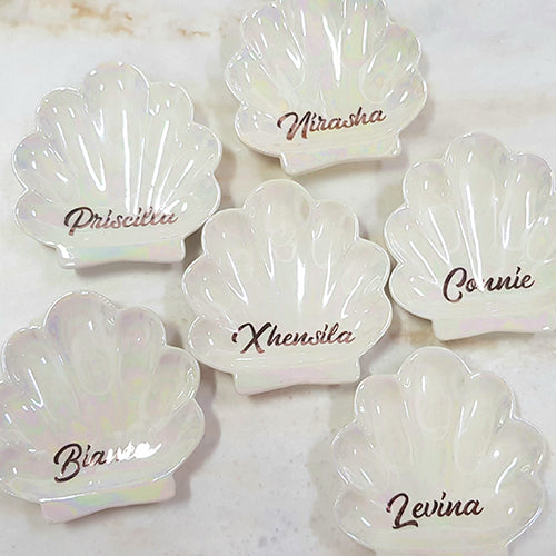 Personalised Gift Ceremic Seashell Trinket Tray Jewellery Dish-Personalised Gift-1stAvenue