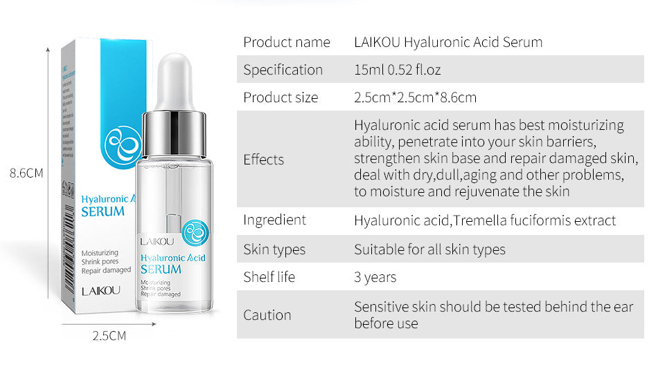 LAIKOU Hyaluronic Acid Serum Moisturizing Shrink Pores Essence Anti Wrinkle Facial Serum Whitening Repair Damaged Skin Care 15ml-Laikou-1stAvenue