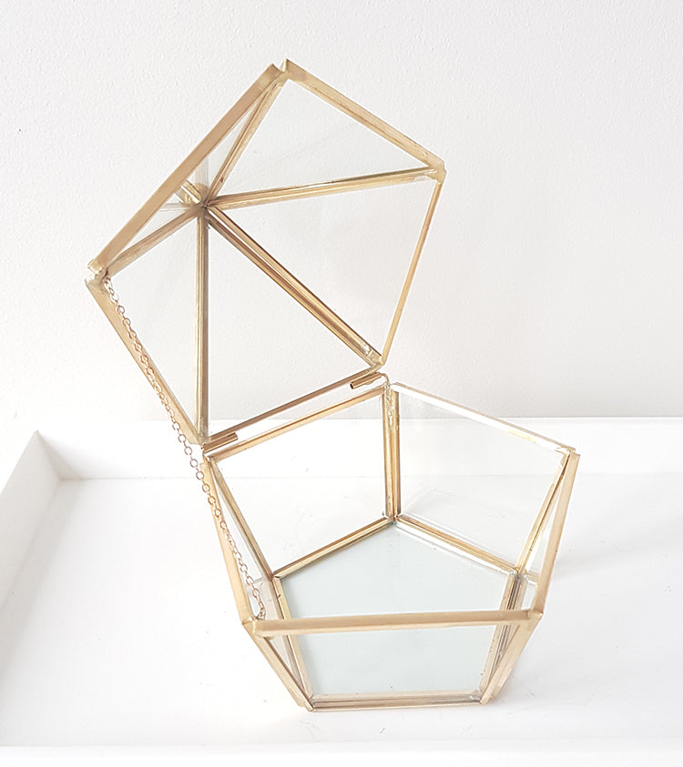Gold geometric terrarium/ring boxes (5 sided box)-Geometric Terrarium-1stAvenue
