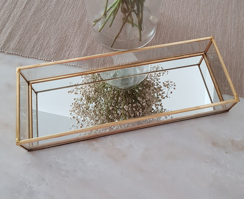 Gold geometric terrarium/ring boxes (Long Slim Rectangle Tray) - 1stavenue
