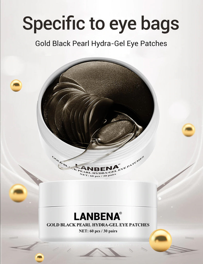 LANBENA Face Mask Gold Black Pearl Collagen Eye Patch Gel Face Care Repairing Wrinkle Lighten Skin Erase Eye Bag Eye Care 60pcs-Beauty Product-1stAvenue