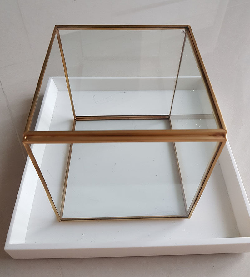Gold geometric terrarium/ring boxes (Cube Box)-Geometric Terrarium-1stAvenue