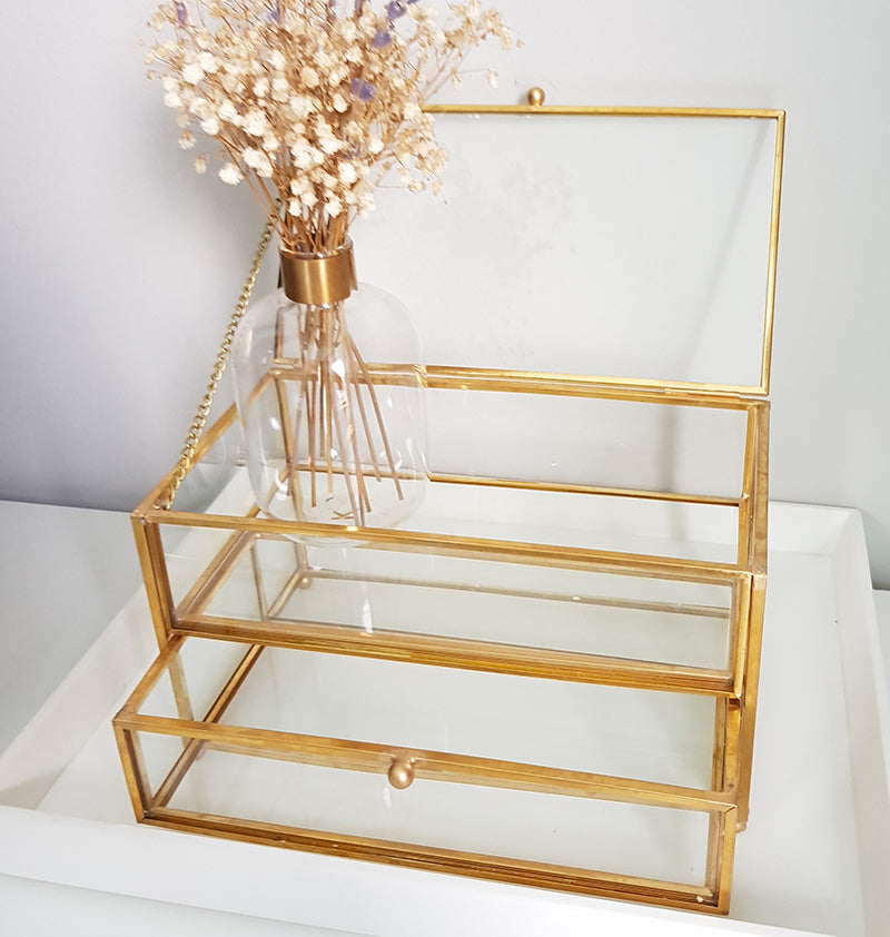 Gold geometric terrarium/ring boxes (Rectangle Box with Drawer)-Geometric Terrarium-1stAvenue