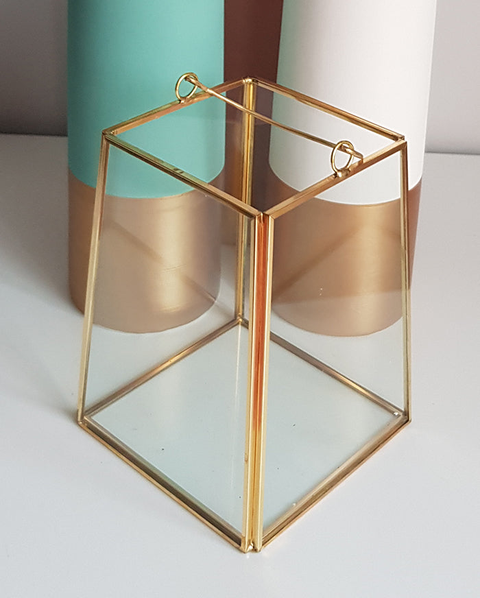 Gold geometric terrarium/ring boxes Slanted Rectangle Lantern-Geometric Terrarium-1stAvenue
