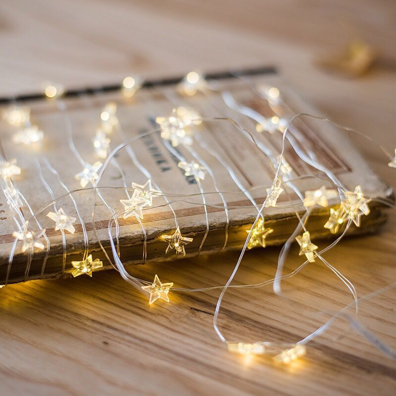 3m Star Lights Warm white for Decoration Wedding Led Copper Wire String Lights Battery Operate Twinkle Light New Year Decor-Fairy Lights-1stAvenue