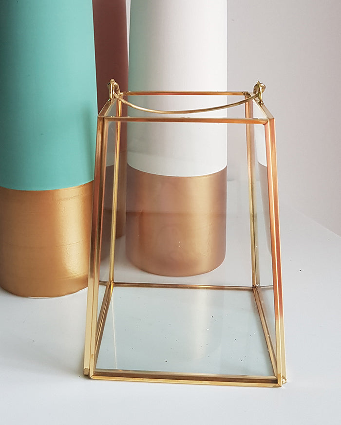 Gold geometric terrarium/ring boxes Slanted Rectangle Lantern - 1stAvenue