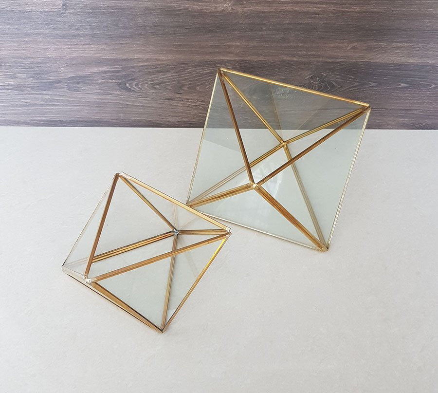 Gold geometric terrarium/ring boxes (Triangle Box)-Geometric Terrarium-1stAvenue