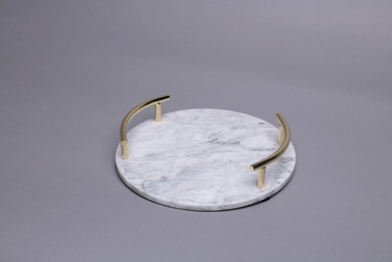 Nordic Style Natural marble round jewelry Gold metal handle storage tray decoration decoration-Marble Collection-1stAvenue