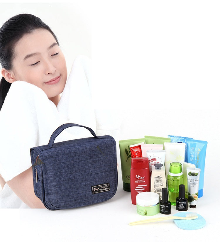 Cosmetic Bag Korean Large Hanging Travel Man Deluxe Toiletry Bag Wash Makeup Organizer Pouch-Travel Organizer-1stAvenue